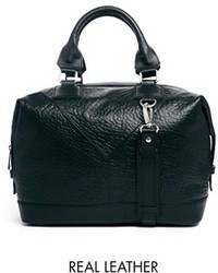 Asos Leather Structured Carryall With Panel Detail Black