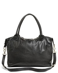 Merona Leather Weekender Handbag Black Tm