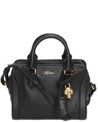 Alexander McQueen Mini Padlock Calfskin Leather Duffel Bag Black