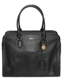 Alexander McQueen Padlock Calfskin Leather Duffel Bag Grey