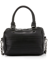 Neiman Marcus Quilted Faux Leather Duffle Bag Black