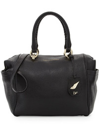 Diane von Furstenberg Sutra Bold Leather Duffle Bag Black