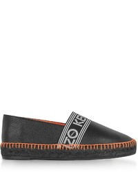 Kenzo Black Grainy Leather Espadrilles Wneon Orange Stitching