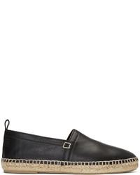 Loewe Black Leather Espadrilles