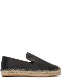 Valentino Black Leather Espadrilles