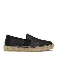Kenzo Black Leather Tiger Head Espadrilles