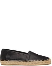 Saint Laurent Black Monogram Leather Espadrilles