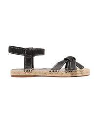 Loewe Gate Logo Embossed Leather Espadrille Sandals