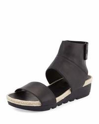 Eileen Fisher Glad Leather Espadrille Sandal Black