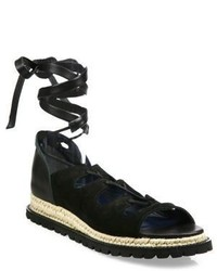 Sacai Leather Espadrille Wrap Sandals