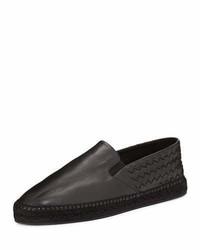 Bottega Veneta Leather Intrecciato Espadrille Flat Black