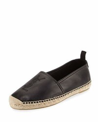 Saint Laurent Monogram Leather Espadrille Black