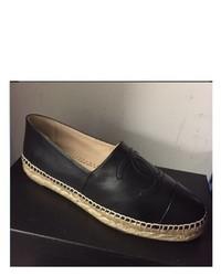 Chanel Vintage Espadrilles Black Leather