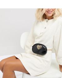 Glamorous Black Chain Belt Bag With Heart Hardware