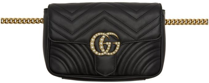 1317fddfc48583 Gucci Black Gg Marmont 20 Belt Bag, $1,890 | SSENSE | Lookastic.com