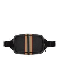 Burberry Black Icon Stripe Print Bum Bag