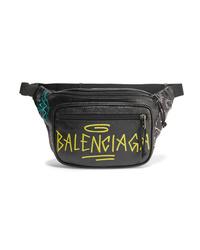 Balenciaga Explorer Graffiti Printed Textured Leather Belt Bag