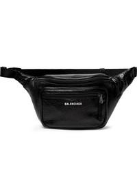 Balenciaga Explorer Logo Print Crinkled Leather Belt Bag
