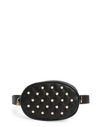 Knotty Imitation Pearl Studded Faux Leather Belt Bag