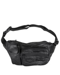 Journee Collection Black Leather Fanny Pack