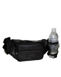 Leather in Chicago, Inc. Hollywood Tag Black Leather Bottle Holder Fanny Pack