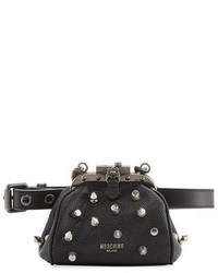Moschino Pebbled Spike Chain Belt Bag