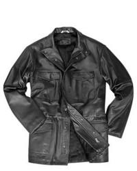 Forzieri Black Italian Four Pocket Leather Jacket
