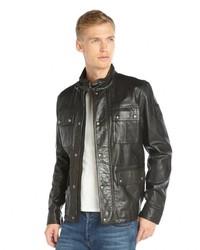 Belstaff Black Waxed Leather Pocket Front Warrington Jacket