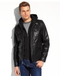 Guess Coats Faux Leather Four Pocket Hooded Jacket