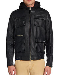 Members only faux leather hooded field jacket medium 111595