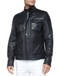 Michael Kors Michl Kors Pebbled Leather Jacket