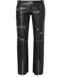 Alexander McQueen Zip Embellished Textured Leather Straight Leg Pants