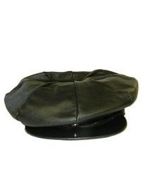 Leather in Chicago, Inc. Hollywood Tag Black Leather Newsboy Cap