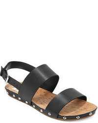 Black Leather Flat Sandals