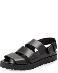 Alexander Wang Alisha Leather Slingback Flat Sandal Black