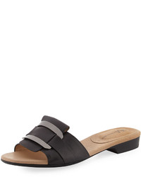 Neiman Marcus Belicia Leather Flat Slide Sandal Black
