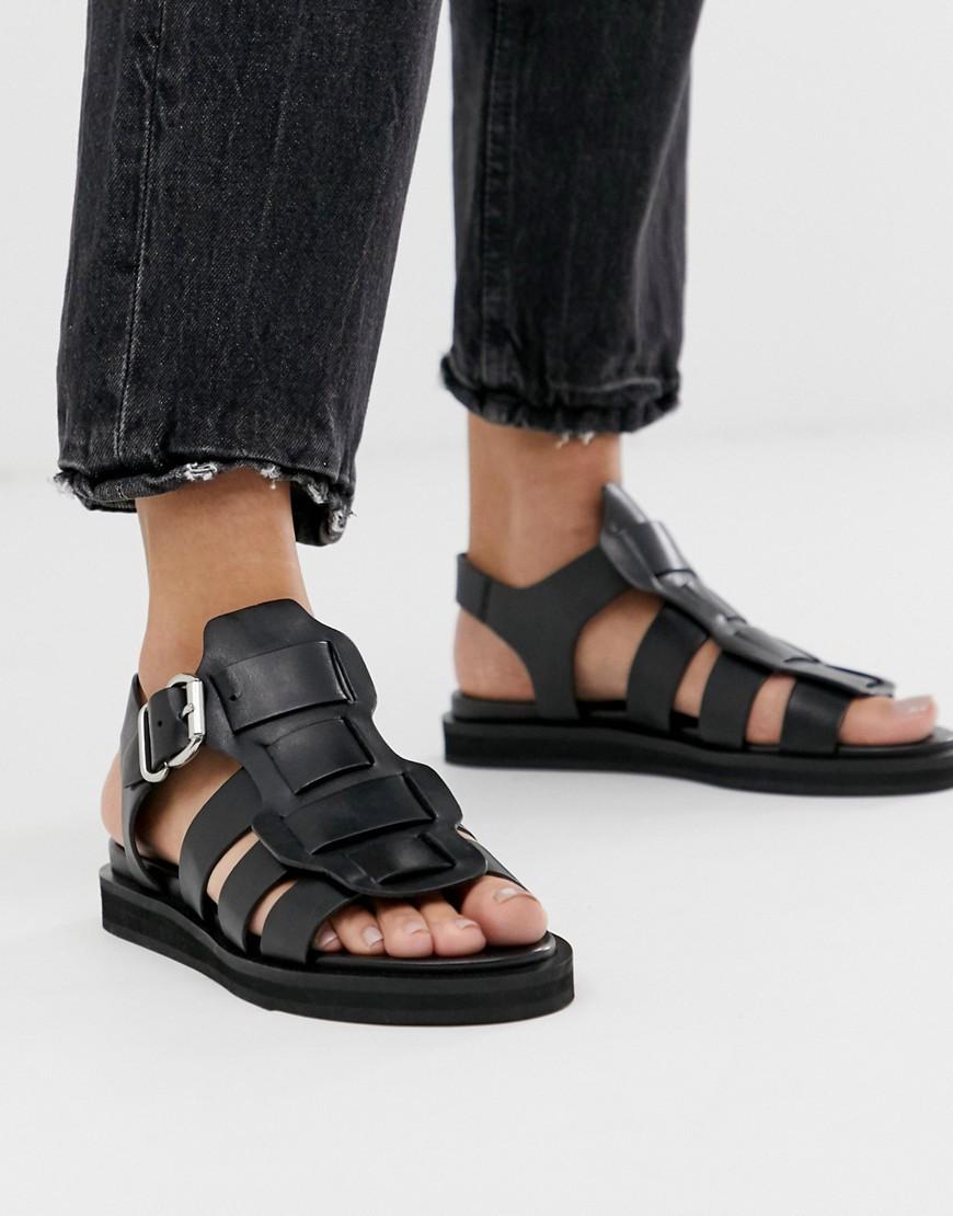 aaf9ea6acfc Black Leather Chunky Gladiator Sandal