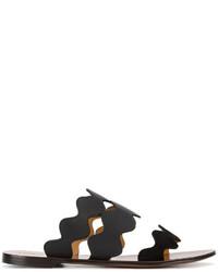 Chloé Black Leather Lauren Slides