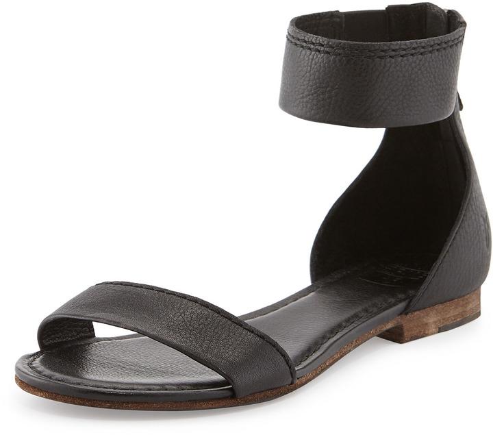 203e19273ed ... Frye Carson Flat Ankle Wrap Sandal Black ...