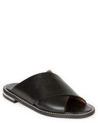 Givenchy Chain Trim Leather Crisscross Slides