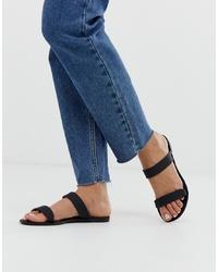 Glamorous Clear Black Jelly Two Flat Sandal