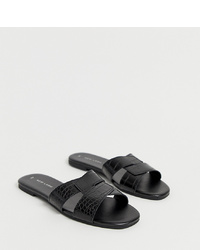New Look Cross Flat Slider Sandal In Black Croc