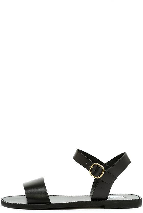 9bab580da50 $59, Steve Madden Donddi Black Leather Flat Sandals