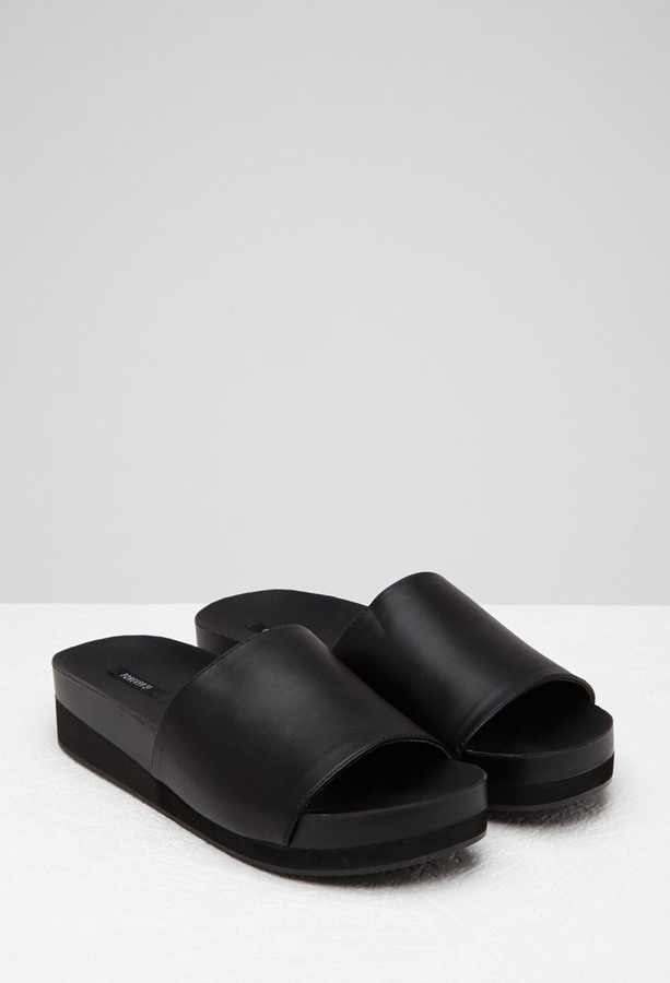 Faux Leather Platform Slides. Black Leather Flat Sandals by Forever 21 0a54767988
