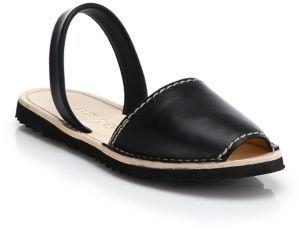 b08bfa0fd ... Prada Flat Leather Slingback Sandals ...