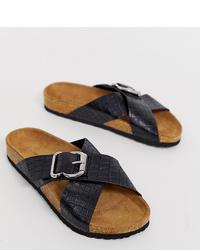 New Look Footbed Flat Sandal In Black Croc