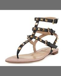 Valentino Garavani Rockstud Flat Thong Sandal Black