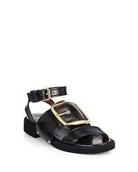Givenchy Runway Leather Buckle Sandals Black