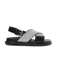 Marni Glittered Leather Slingback Sandals