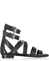 Michael Kors Michl Kors Jocelyn Black Leather Flat Sandal